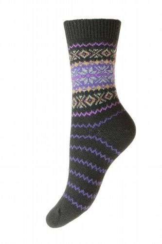 Ladies Cashmere Socks - Nordic - Black